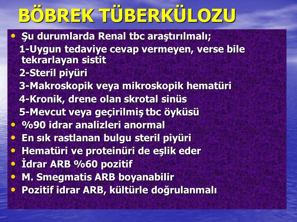 BÖBREK TÜBERKÜLOZU Şu durumlarda Renal tbc araştırılmalı;