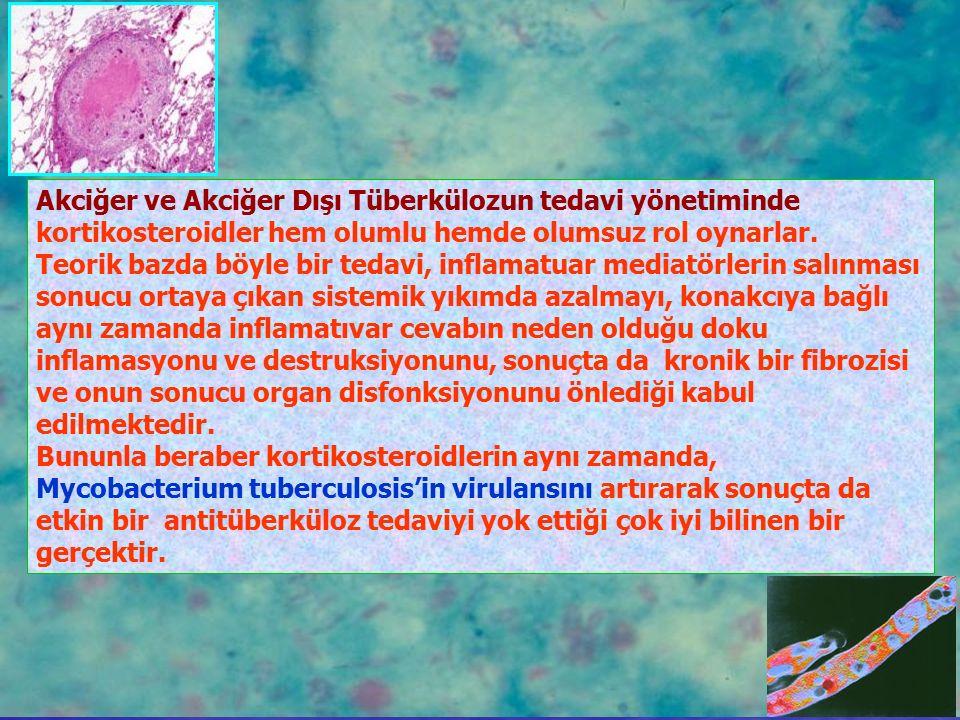 Akciğer ve Akciğer Dışı Tüberkülozun tedavi yönetiminde kortikosteroidler hem olumlu hemde olumsuz rol oynarlar.