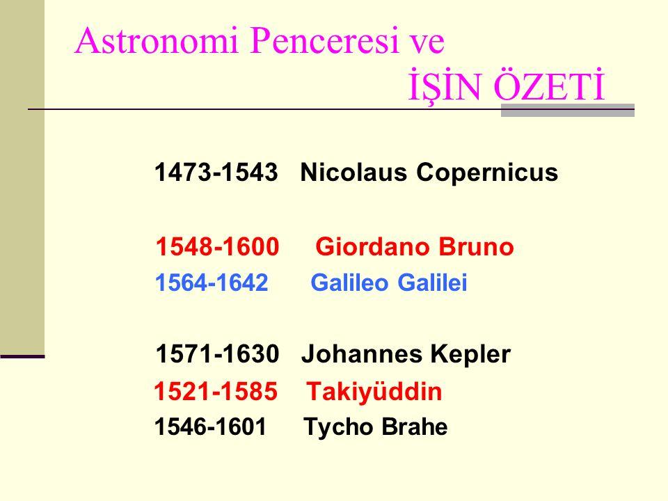 Astronomi Penceresi ve İŞİN ÖZETİ