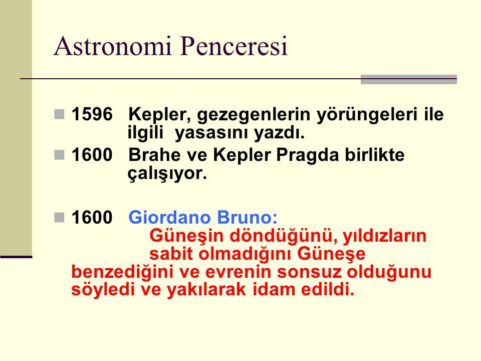 Astronomi Penceresi 1596 Kepler, gezegenlerin yörüngeleri ile ilgili yasasını yazdı.