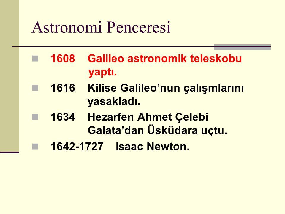 Astronomi Penceresi 1608 Galileo astronomik teleskobu yaptı.