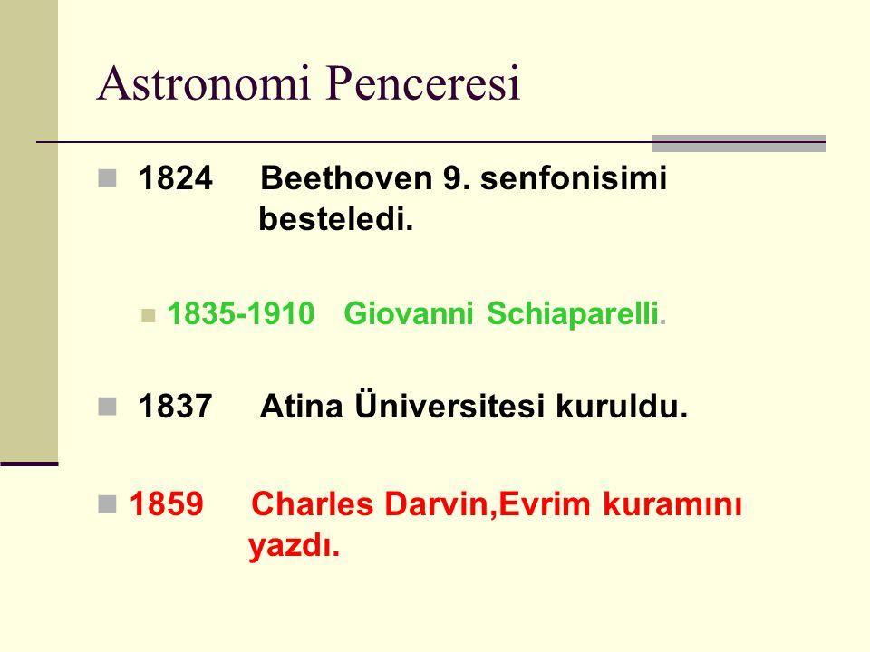 Astronomi Penceresi 1824 Beethoven 9. senfonisimi besteledi.