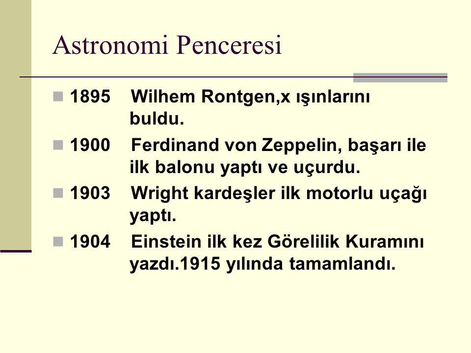 Astronomi Penceresi 1895 Wilhem Rontgen,x ışınlarını buldu.