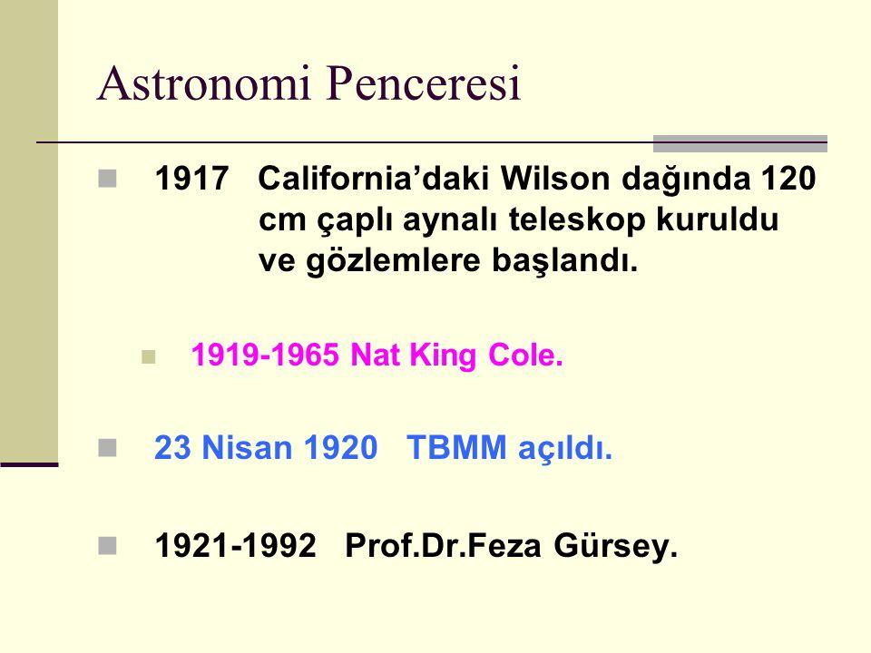 Astronomi Penceresi 1917 California'daki Wilson dağında 120 cm çaplı aynalı teleskop kuruldu ve gözlemlere başlandı.
