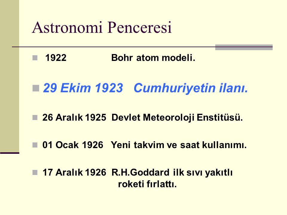 Astronomi Penceresi 29 Ekim 1923 Cumhuriyetin ilanı.