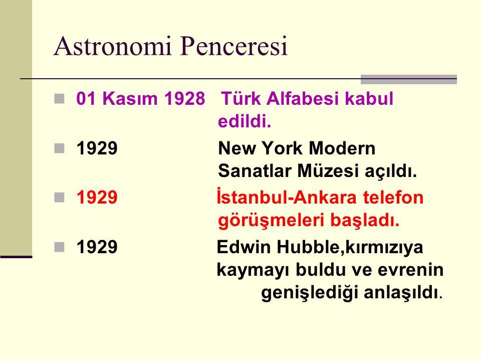 Astronomi Penceresi 01 Kasım 1928 Türk Alfabesi kabul edildi.