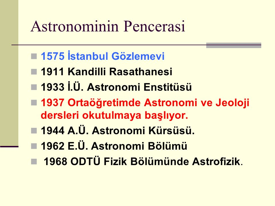 Astronominin Pencerasi