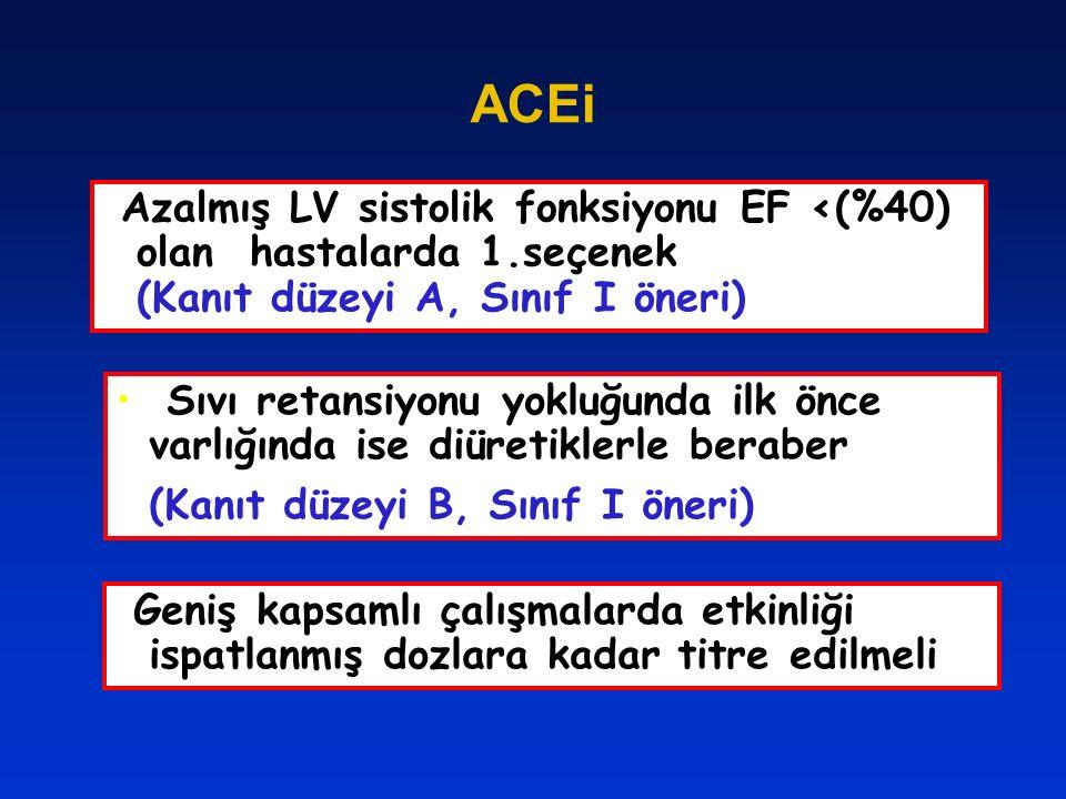 ACEi Azalmış LV sistolik fonksiyonu EF <(%40) olan hastalarda 1.seçenek (Kanıt düzeyi A, Sınıf I öneri)