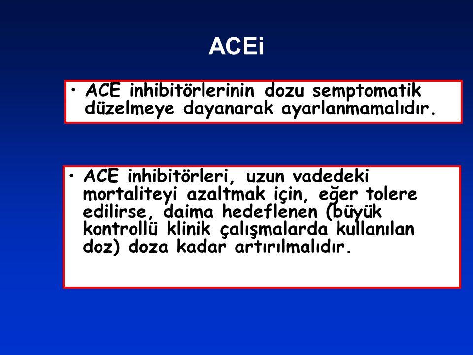 ACEi ACE inhibitörlerinin dozu semptomatik düzelmeye dayanarak ayarlanmamalıdır.