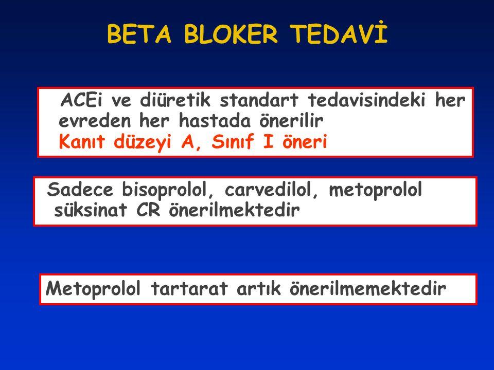 BETA BLOKER TEDAVİ ACEi ve diüretik standart tedavisindeki her evreden her hastada önerilir Kanıt düzeyi A, Sınıf I öneri.