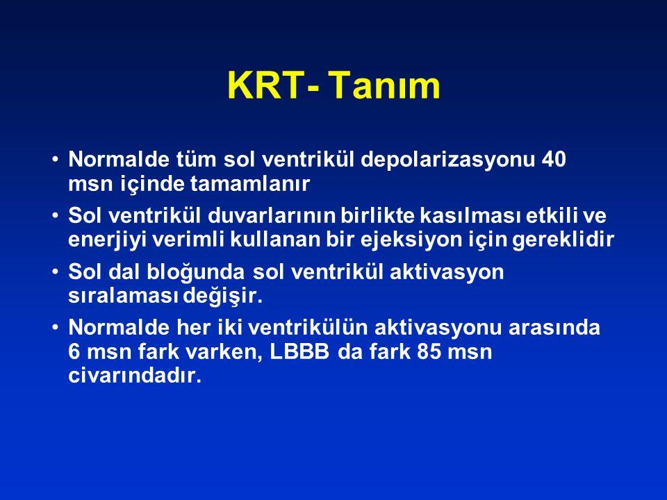 KRT- Tanım Normalde tüm sol ventrikül depolarizasyonu 40 msn içinde tamamlanır.