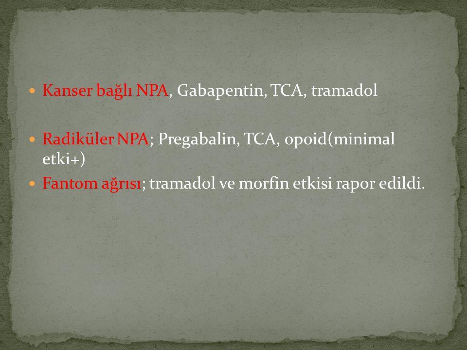 Kanser bağlı NPA, Gabapentin, TCA, tramadol