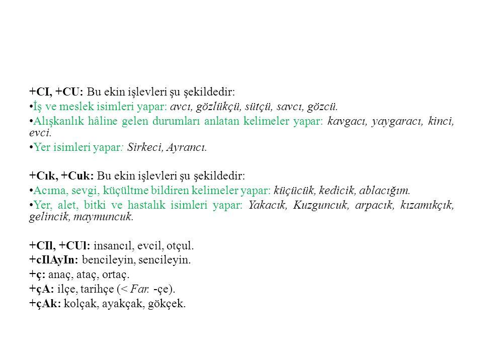 +CI, +CU: Bu ekin işlevleri şu şekildedir: •İş ve meslek isimleri yapar: avcı, gözlükçü, sütçü, savcı, gözcü.