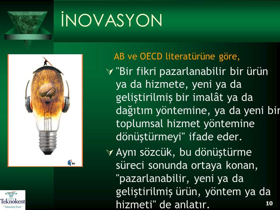 İNOVASYON AB ve OECD literatürüne göre,
