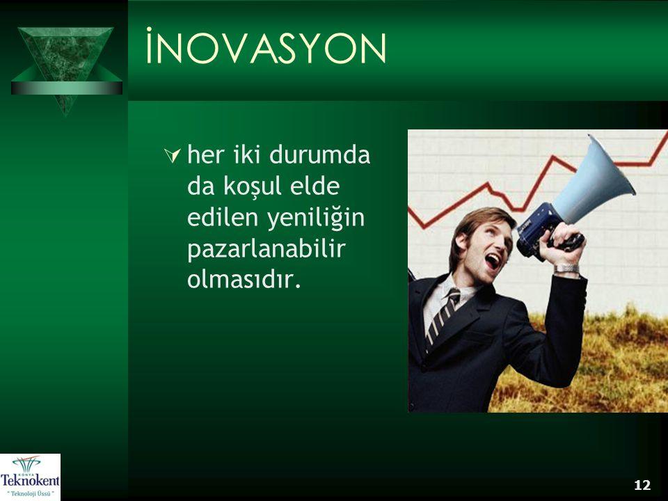 İNOVASYON her iki durumda da koşul elde edilen yeniliğin pazarlanabilir olmasıdır.