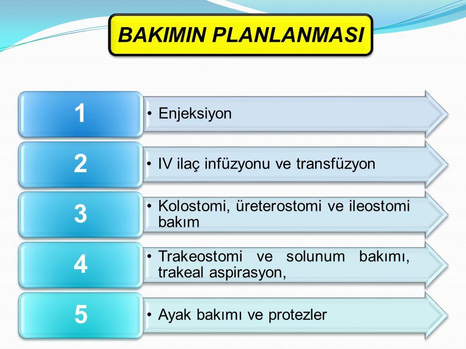 BAKIMIN PLANLANMASI 1. Enjeksiyon. 2. IV ilaç infüzyonu ve transfüzyon. 3. Kolostomi, üreterostomi ve ileostomi bakım.