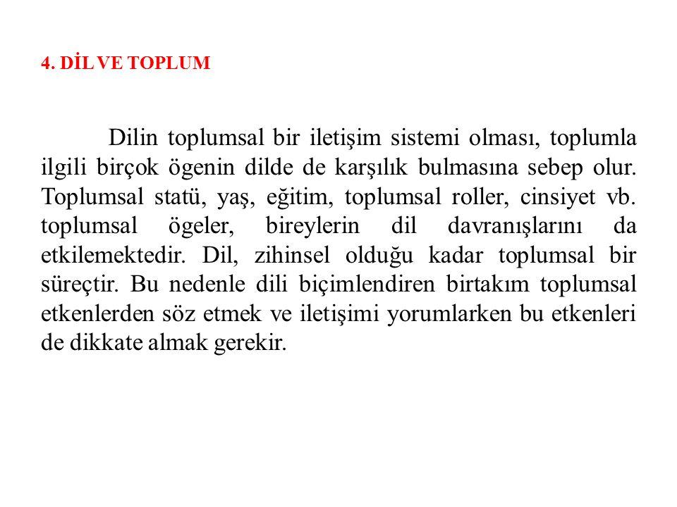 4. DİL VE TOPLUM