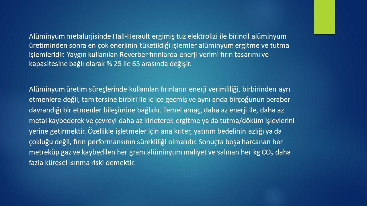 Alüminyum metalurjisinde Hall-Herault ergimiş tuz elektrolizi ile birincil alüminyum üretiminden sonra en çok enerjinin tüketildiği işlemler alüminyum ergitme ve tutma işlemleridir. Yaygın kullanılan Reverber fırınlarda enerji verimi fırın tasarımı ve kapasitesine bağlı olarak % 25 ile 65 arasında değişir.