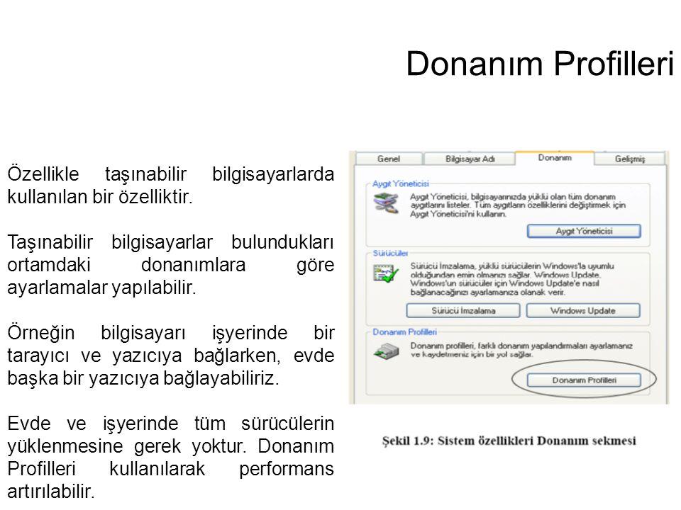Donanım Profilleri Özellikle taşınabilir bilgisayarlarda kullanılan bir özelliktir.