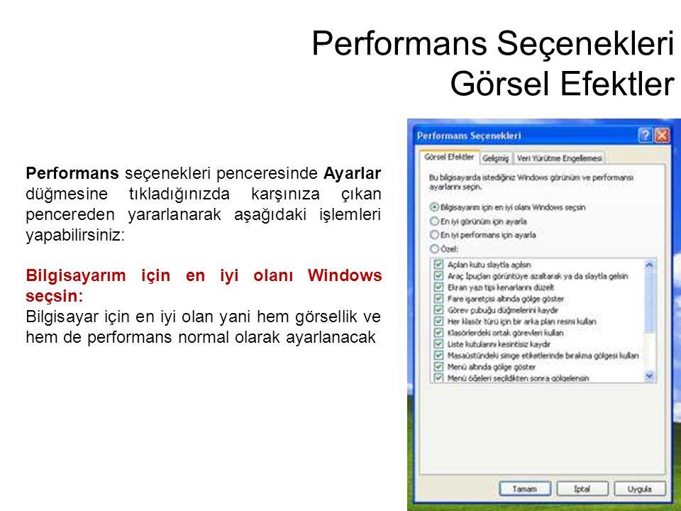 Performans Seçenekleri Görsel Efektler
