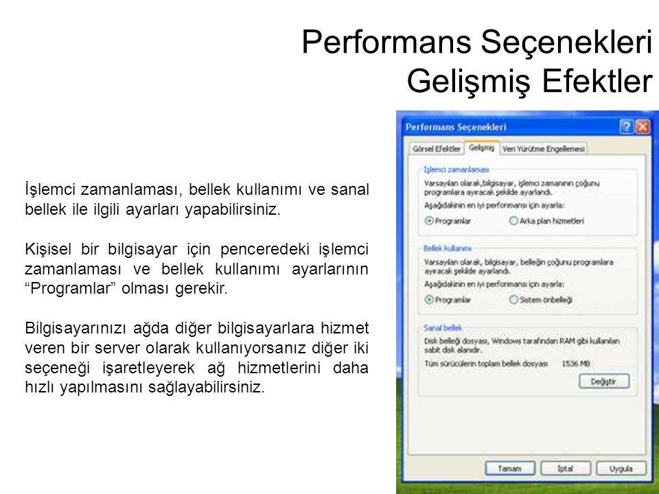 Performans Seçenekleri Gelişmiş Efektler