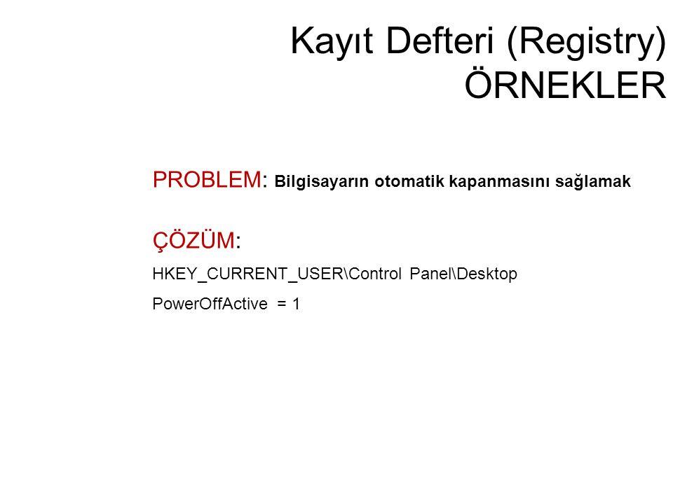 Kayıt Defteri (Registry) ÖRNEKLER