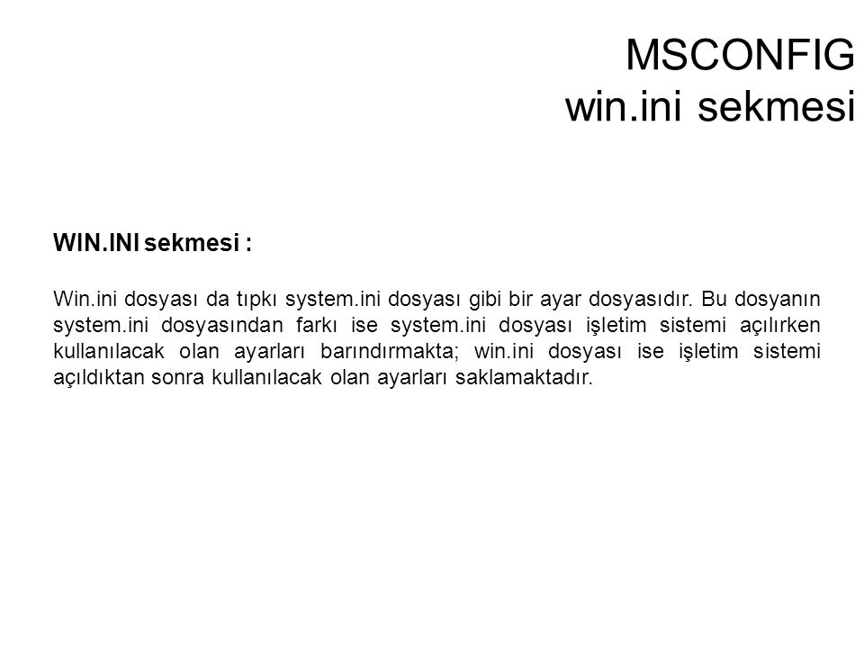 MSCONFIG win.ini sekmesi