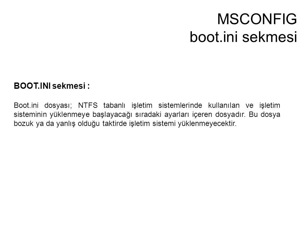 MSCONFIG boot.ini sekmesi