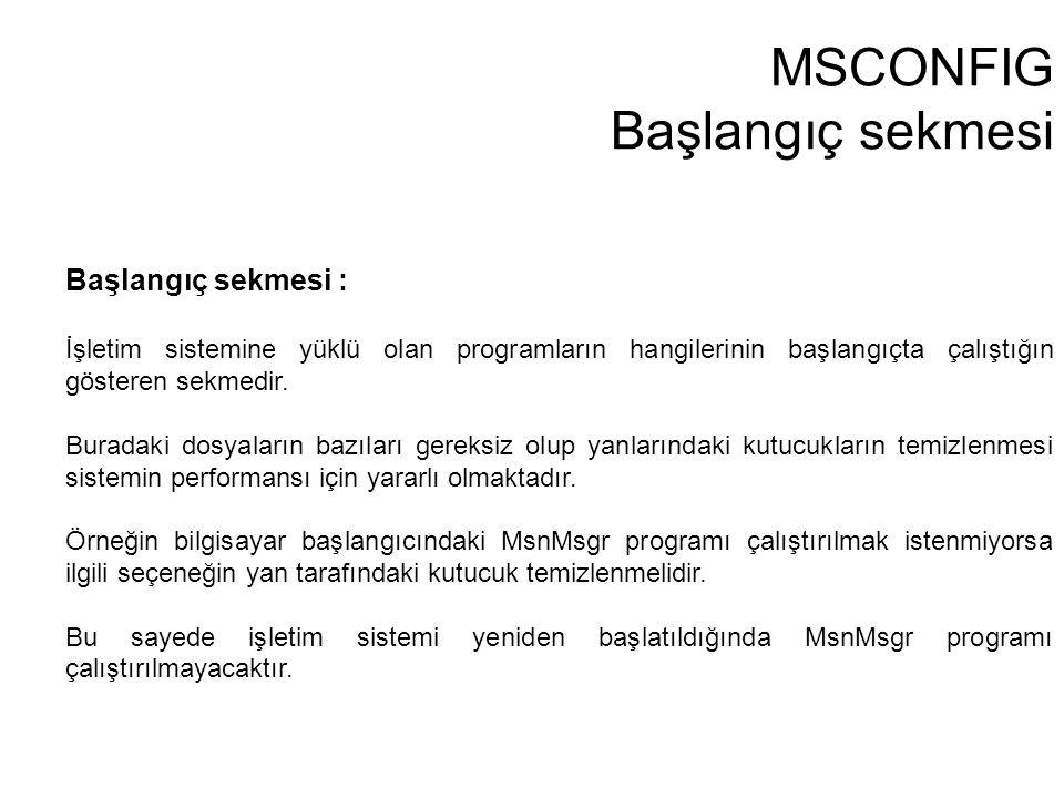 MSCONFIG Başlangıç sekmesi