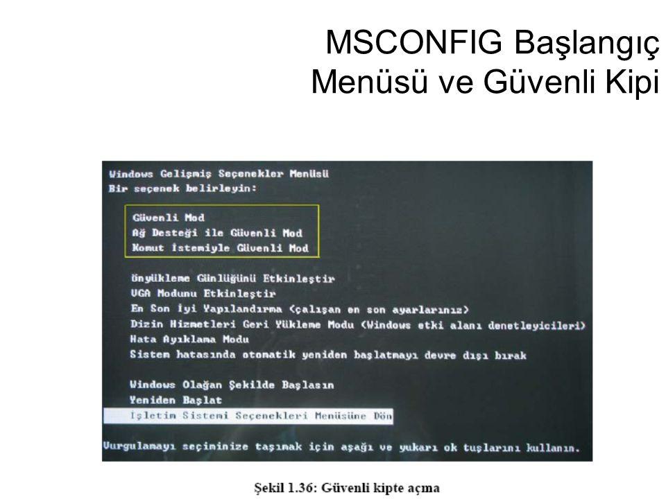 MSCONFIG Başlangıç Menüsü ve Güvenli Kipi