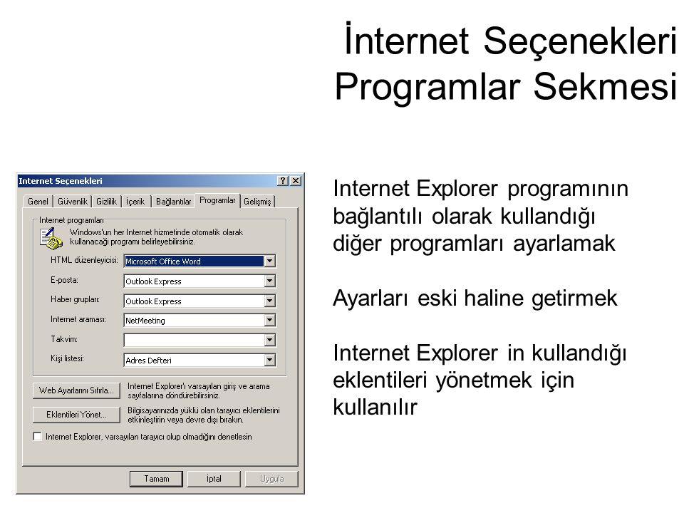 İnternet Seçenekleri Programlar Sekmesi