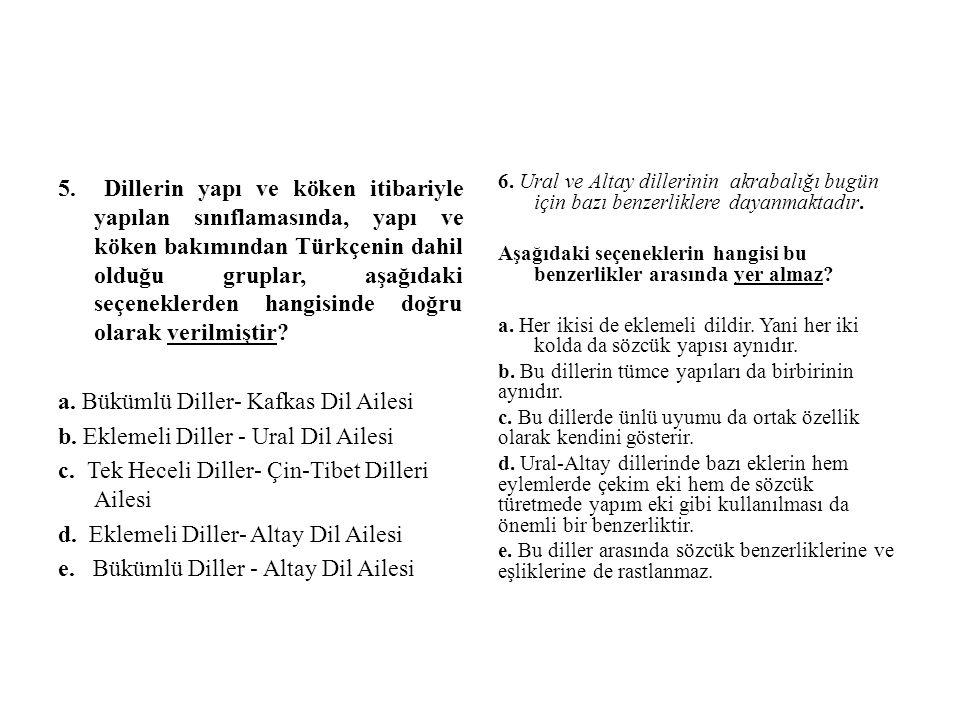 a. Bükümlü Diller- Kafkas Dil Ailesi