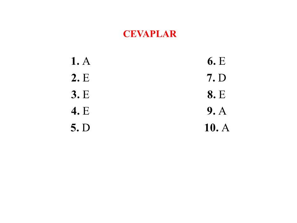 CEVAPLAR 1. A 2. E 3. E 4. E 5. D 6. E 7. D 8. E 9. A 10. A