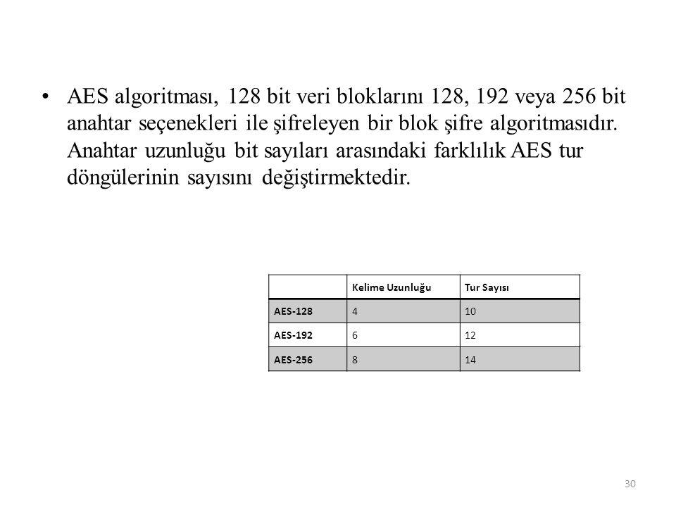 AES algoritması, 128 bit veri bloklarını 128, 192 veya 256 bit anahtar seçenekleri ile şifreleyen bir blok şifre algoritmasıdır. Anahtar uzunluğu bit sayıları arasındaki farklılık AES tur döngülerinin sayısını değiştirmektedir.