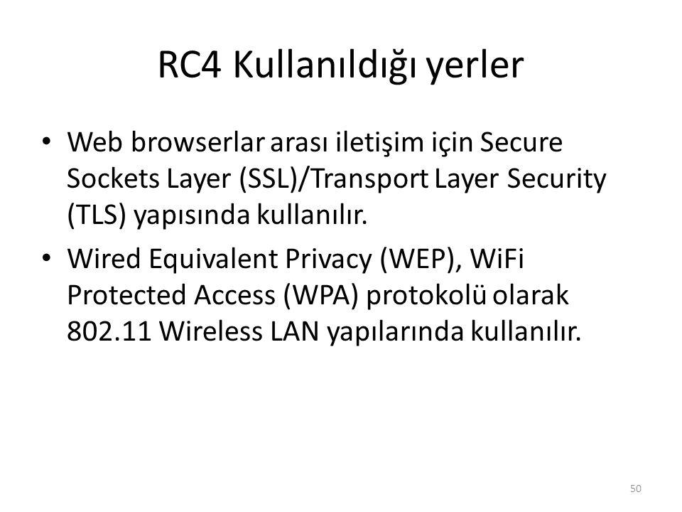 RC4 Kullanıldığı yerler