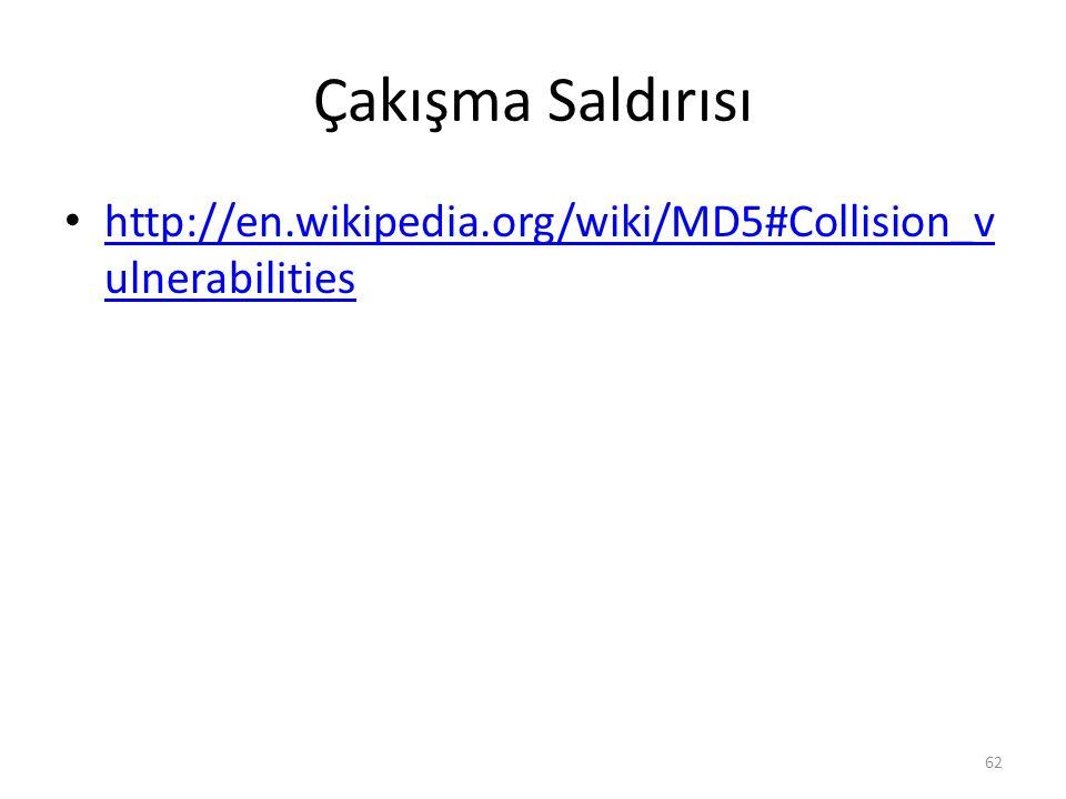 Çakışma Saldırısı http://en.wikipedia.org/wiki/MD5#Collision_vulnerabilities
