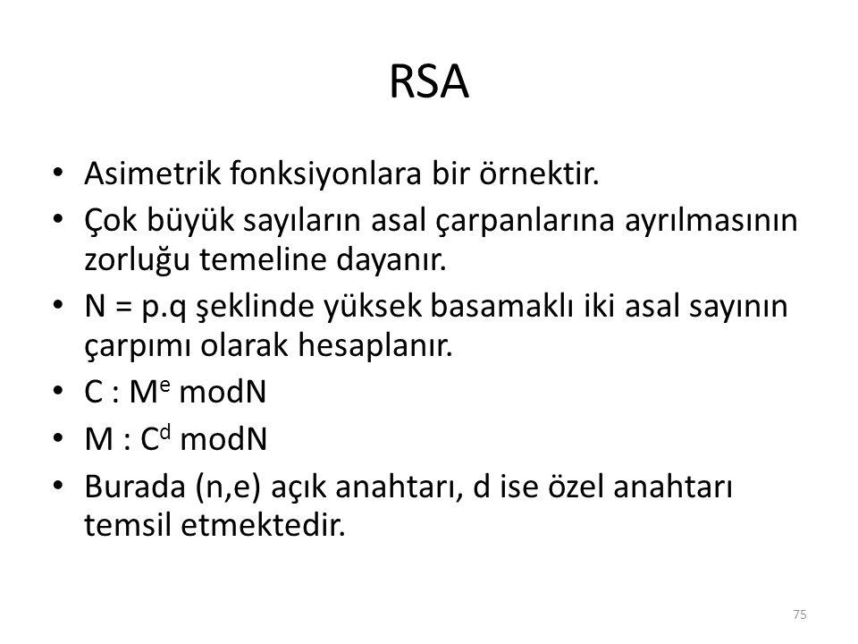 RSA Asimetrik fonksiyonlara bir örnektir.