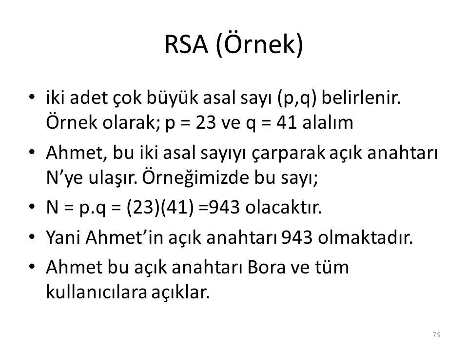 RSA (Örnek) iki adet çok büyük asal sayı (p,q) belirlenir. Örnek olarak; p = 23 ve q = 41 alalım.
