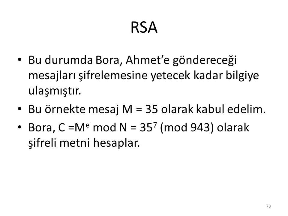 RSA Bu durumda Bora, Ahmet'e göndereceği mesajları şifrelemesine yetecek kadar bilgiye ulaşmıştır. Bu örnekte mesaj M = 35 olarak kabul edelim.