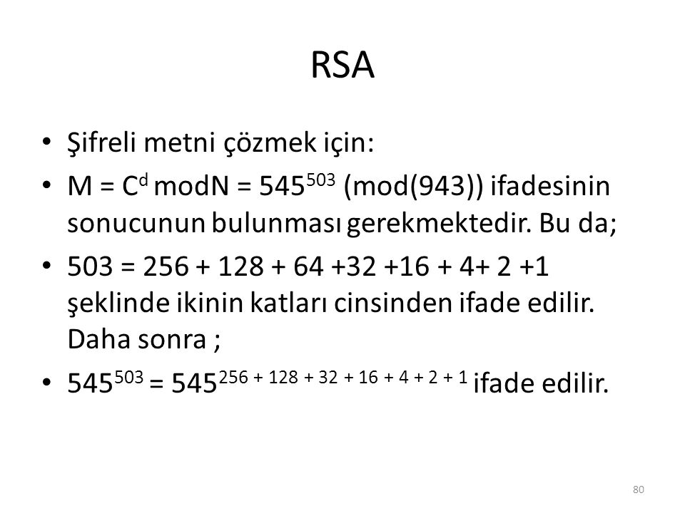 RSA Şifreli metni çözmek için: