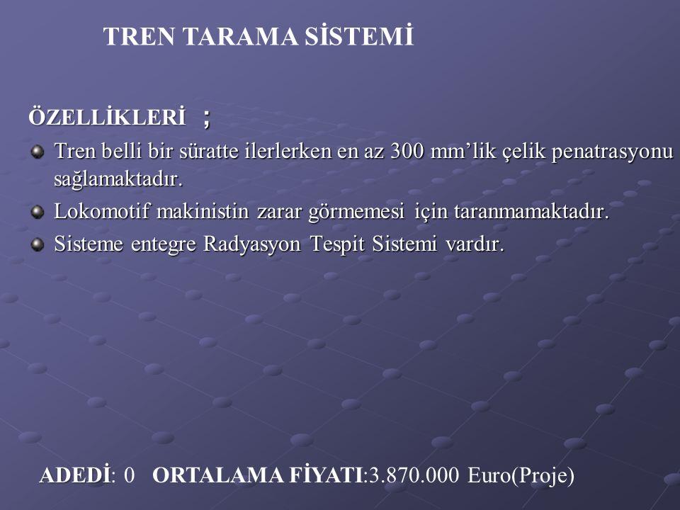 TREN TARAMA SİSTEMİ ÖZELLİKLERİ ;