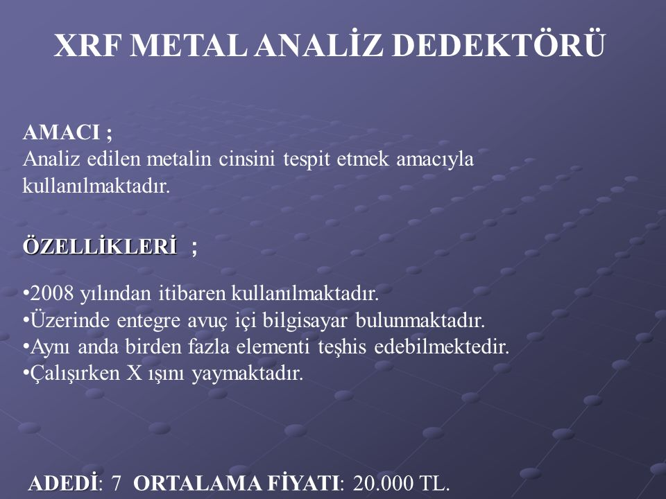 XRF METAL ANALİZ DEDEKTÖRÜ