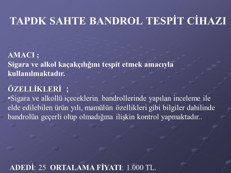 TAPDK SAHTE BANDROL TESPİT CİHAZI