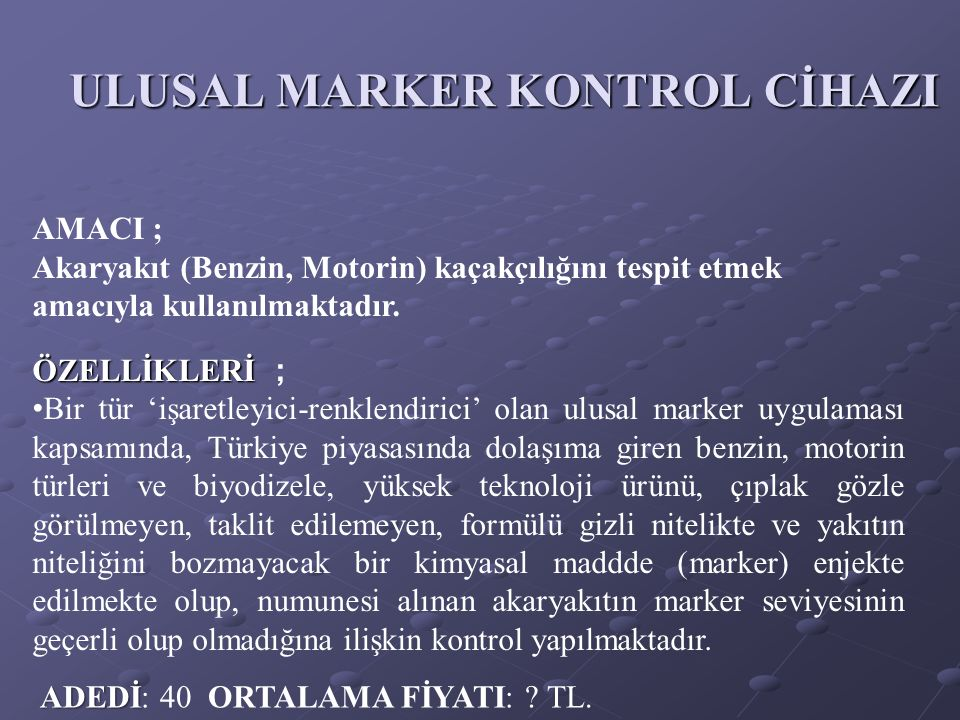 ULUSAL MARKER KONTROL CİHAZI