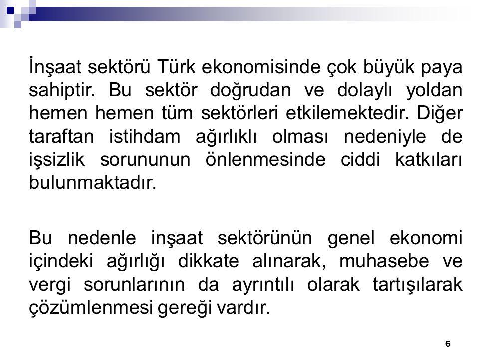 İnşaat sektörü Türk ekonomisinde çok büyük paya sahiptir
