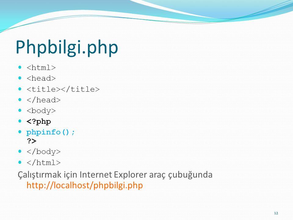 Phpbilgi.php <html> <head> <title></title> </head> <body> < php. phpinfo(); > </body> </html>