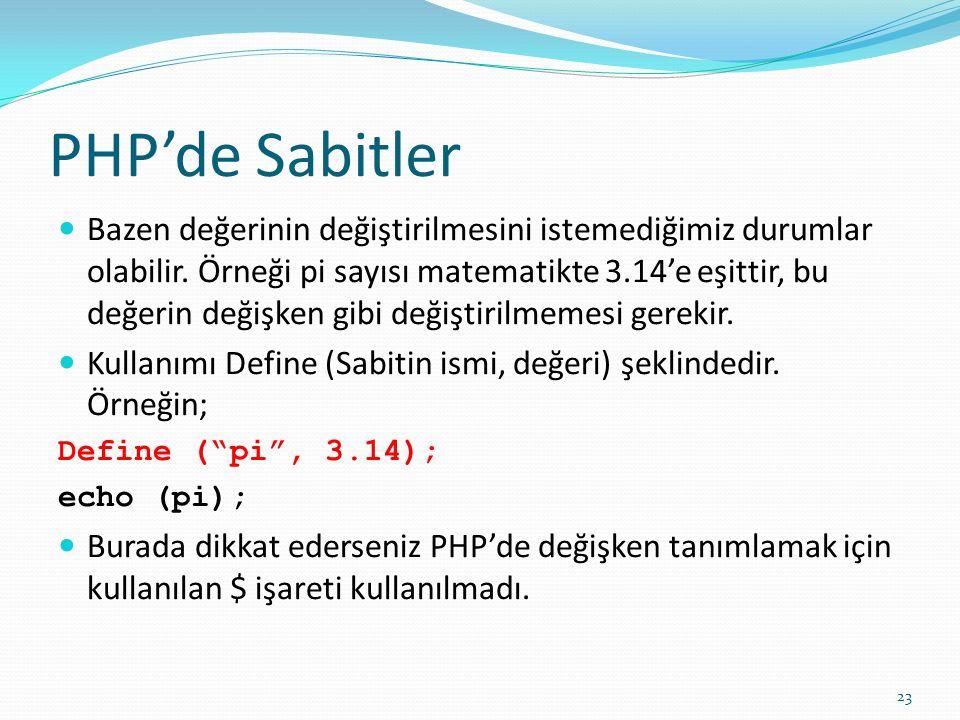 PHP'de Sabitler