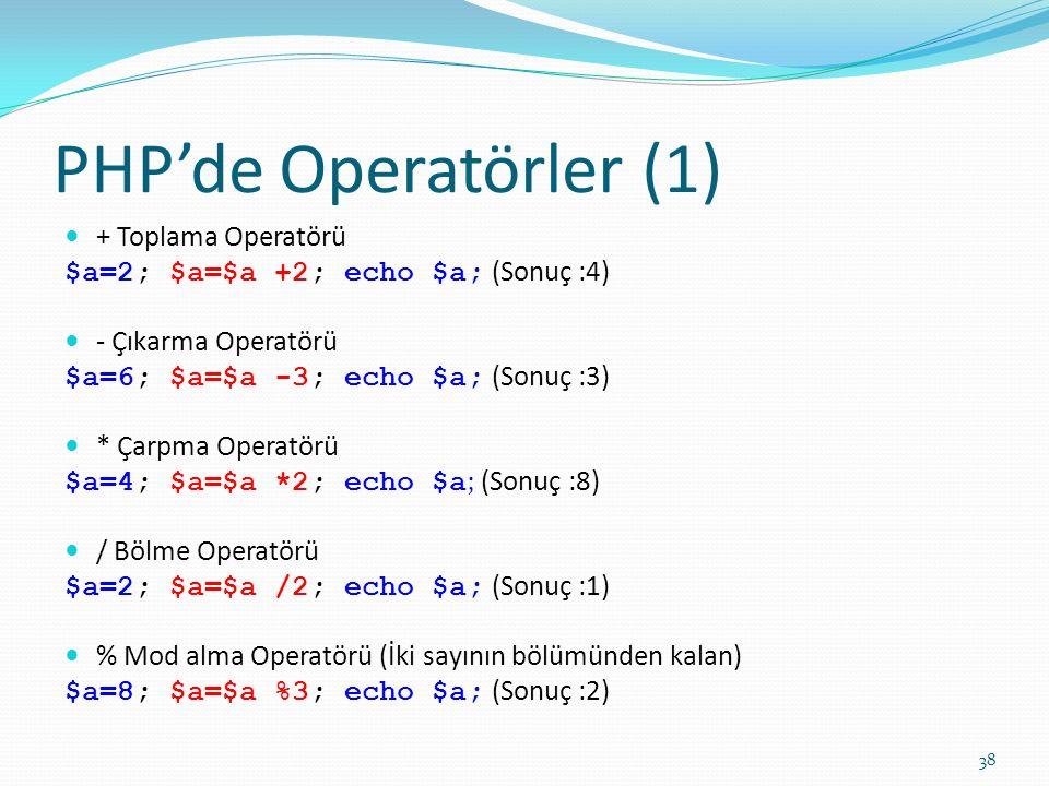 PHP'de Operatörler (1) + Toplama Operatörü