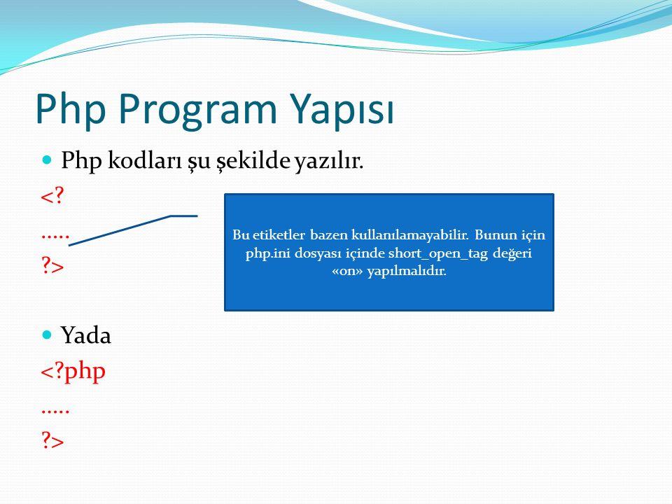 Php Program Yapısı Php kodları şu şekilde yazılır. < ….. >