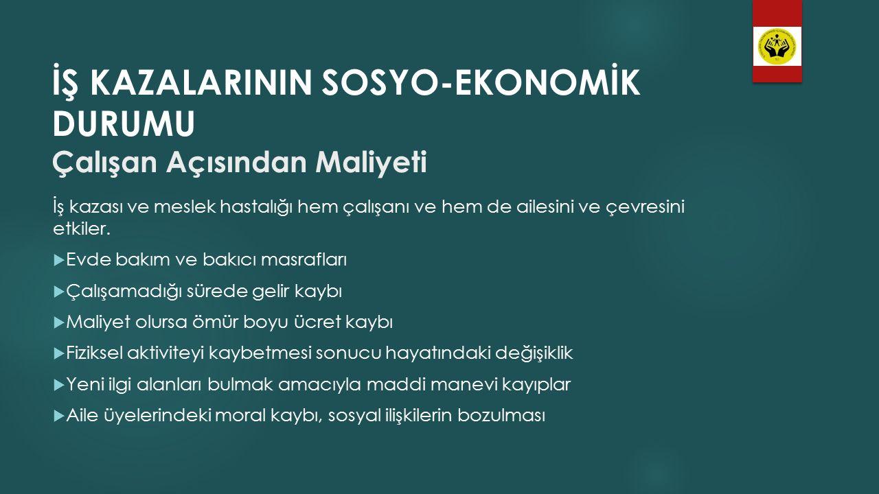 İŞ KAZALARININ SOSYO-EKONOMİK DURUMU Çalışan Açısından Maliyeti